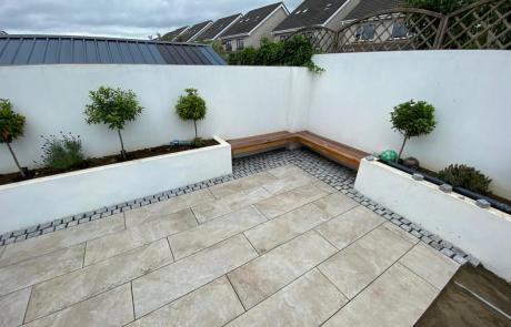 Renovated outdoor patio area