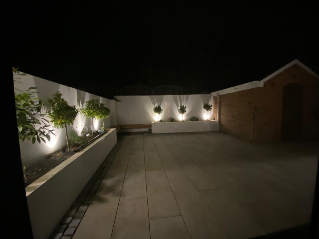 Renovated outdoor patio area with aesthetic lights installed, Image 9