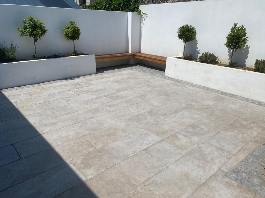 Renovated outdoor modern patio area